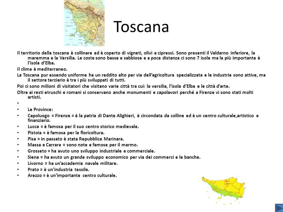 Toscana Il territorio della toscana è collinare ed è coperto di vigneti, olivi e cipressi. Sono presenti il Valdarno inferiore, la maremma e la Versil