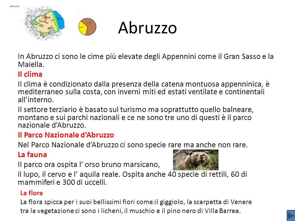 Abruzzo In Abruzzo ci sono le cime più elevate degli Appennini come il Gran Sasso e la Maiella. Il clima Il clima è condizionato dalla presenza della
