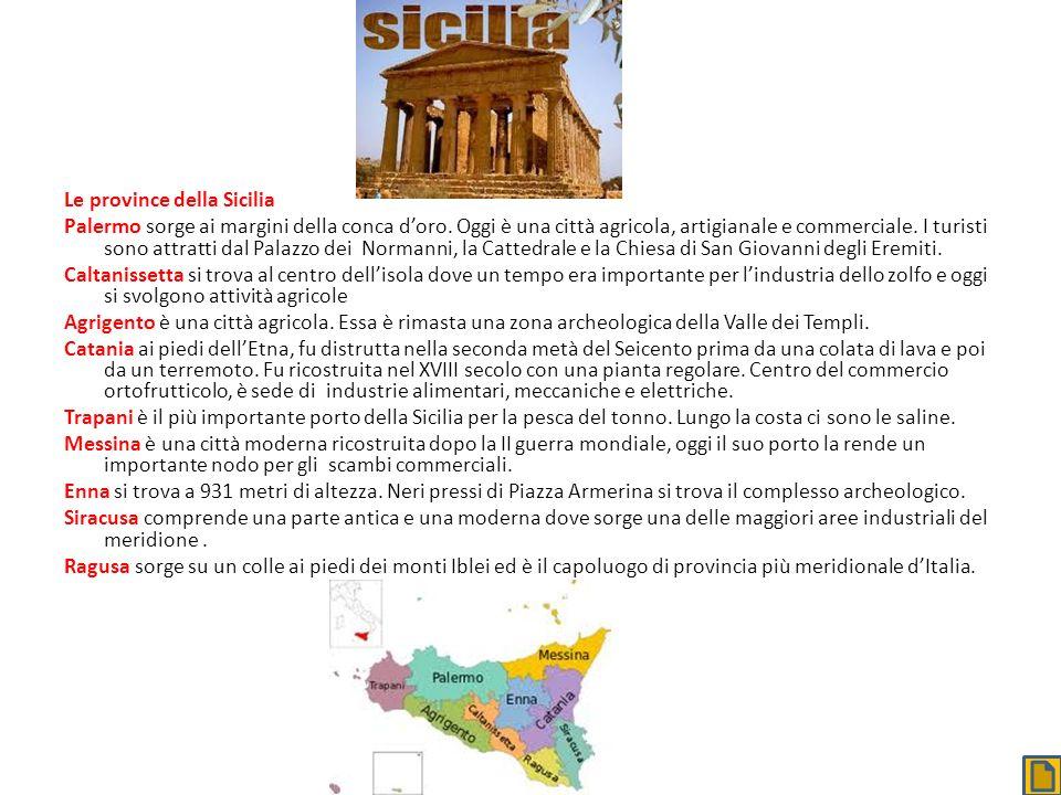 Le province della Sicilia Palermo sorge ai margini della conca doro. Oggi è una città agricola, artigianale e commerciale. I turisti sono attratti dal