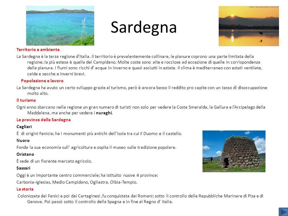 Sardegna Territorio e ambiente La Sardegna è la terza regione dItalia. Il territorio è prevalentemente collinare, le pianure coprono una parte limitat