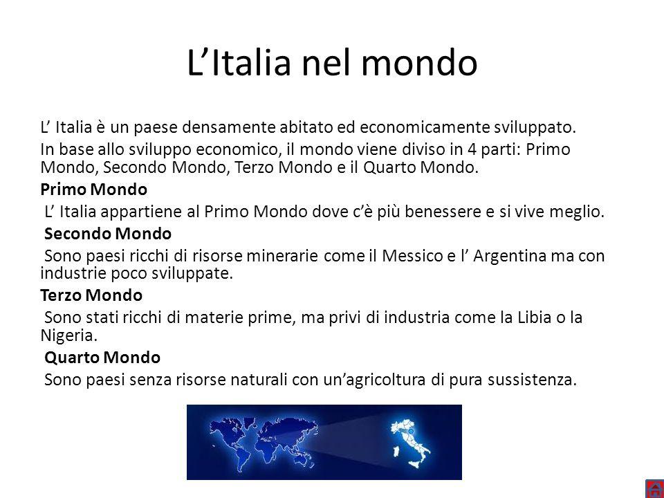 LItalia nel mondo L Italia è un paese densamente abitato ed economicamente sviluppato. In base allo sviluppo economico, il mondo viene diviso in 4 par