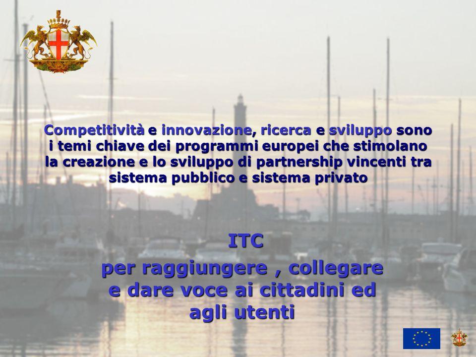 Ufficio Attività Economiche e Internazionali Competitività e innovazione, ricerca e sviluppo sono i temi chiave dei programmi europei che stimolano la creazione e lo sviluppo di partnership vincenti tra sistema pubblico e sistema privato ITC ITC per raggiungere, collegare e dare voce ai cittadini ed agli utenti