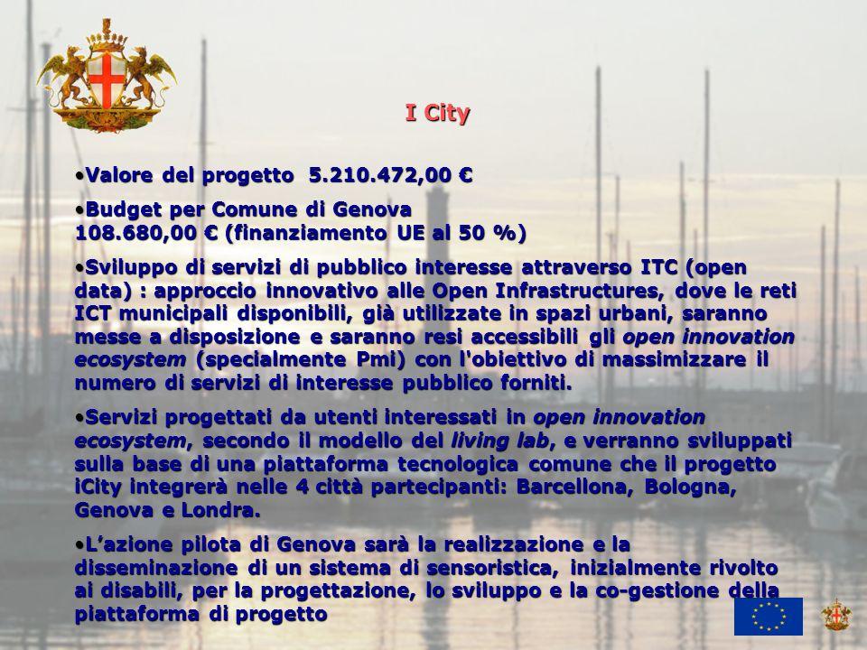 Ufficio Attività Economiche e Internazionali I City Valore del progetto 5.210.472,00Valore del progetto 5.210.472,00 Budget per Comune di Genova 108.680,00 (finanziamento UE al 50 %)Budget per Comune di Genova 108.680,00 (finanziamento UE al 50 %) Sviluppo di servizi di pubblico interesse attraverso ITC (open data) : approccio innovativo alle Open Infrastructures, dove le reti ICT municipali disponibili, già utilizzate in spazi urbani, saranno messe a disposizione e saranno resi accessibili gli open innovation ecosystem (specialmente Pmi) con l obiettivo di massimizzare il numero di servizi di interesse pubblico forniti.Sviluppo di servizi di pubblico interesse attraverso ITC (open data) : approccio innovativo alle Open Infrastructures, dove le reti ICT municipali disponibili, già utilizzate in spazi urbani, saranno messe a disposizione e saranno resi accessibili gli open innovation ecosystem (specialmente Pmi) con l obiettivo di massimizzare il numero di servizi di interesse pubblico forniti.