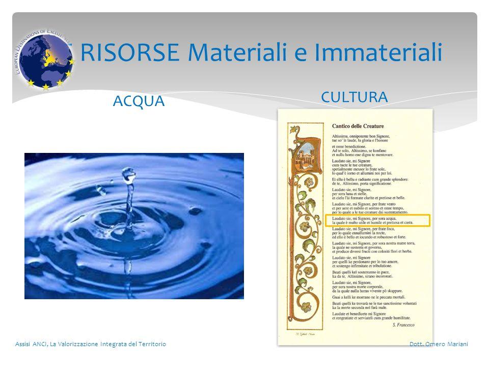 LE RISORSE Materiali e Immateriali ACQUA CULTURA Assisi ANCI, La Valorizzazione Integrata del Territorio Dott.