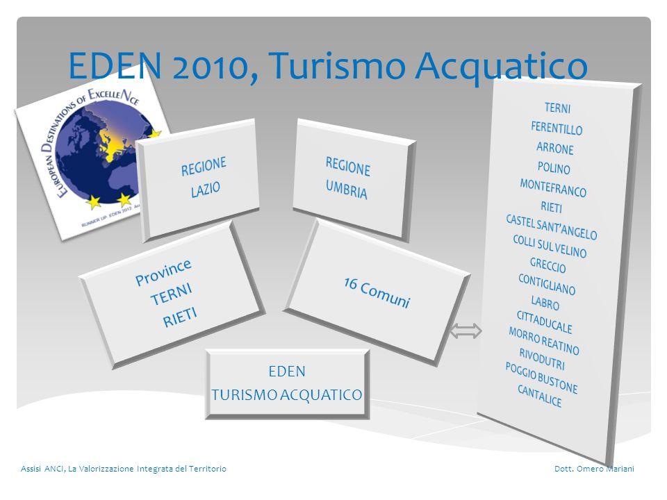 Assisi ANCI, La Valorizzazione Integrata del Territorio Dott. Omero Mariani Province TERNI RIETI 16 Comuni EDEN TURISMO ACQUATICO EDEN 2010, Turismo A