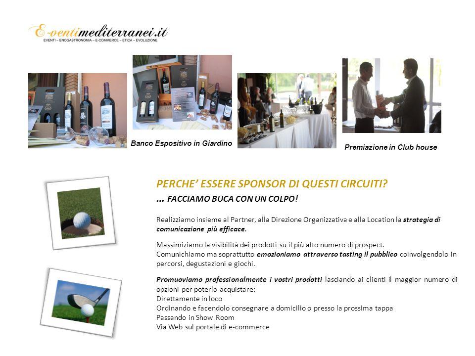 Banco Espositivo in Giardino Banco degustazione interno per Premiazione Premiazione con i prodotti dello Sponsor Premiazione in Club house PERCHE ESSERE SPONSOR DI QUESTI CIRCUITI.