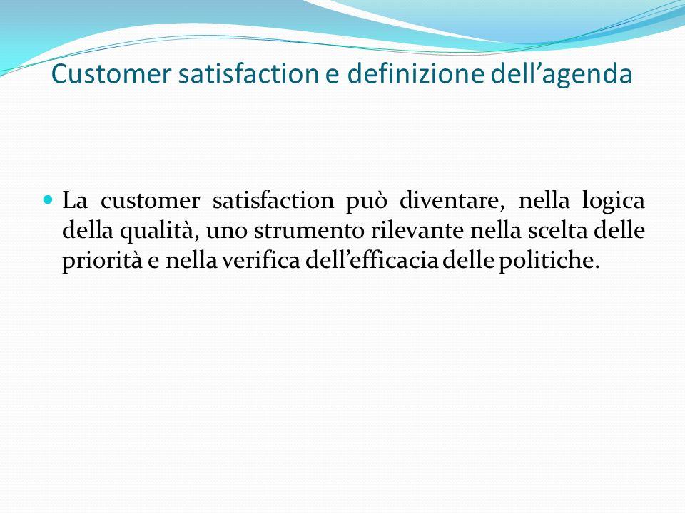 Customer satisfaction e definizione dellagenda La customer satisfaction può diventare, nella logica della qualità, uno strumento rilevante nella scelta delle priorità e nella verifica dellefficacia delle politiche.