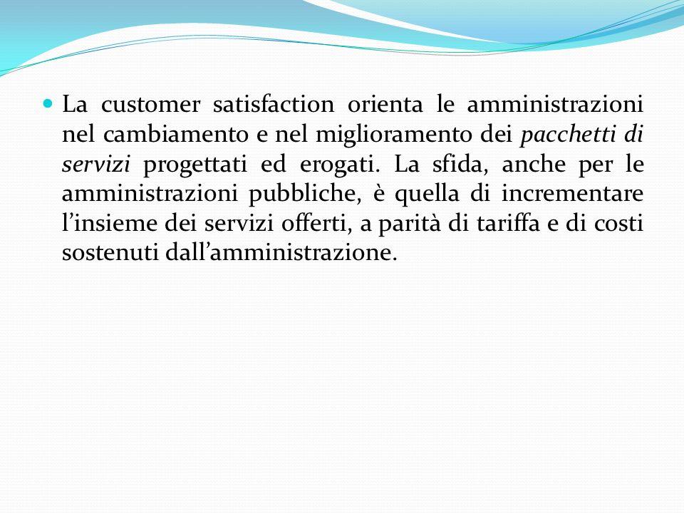 La customer satisfaction orienta le amministrazioni nel cambiamento e nel miglioramento dei pacchetti di servizi progettati ed erogati.