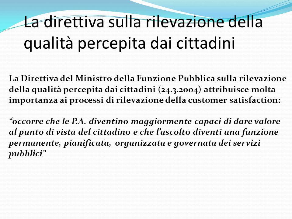 La direttiva sulla rilevazione della qualità percepita dai cittadini La Direttiva del Ministro della Funzione Pubblica sulla rilevazione della qualità percepita dai cittadini (24.3.2004) attribuisce molta importanza ai processi di rilevazione della customer satisfaction: occorre che le P.A.
