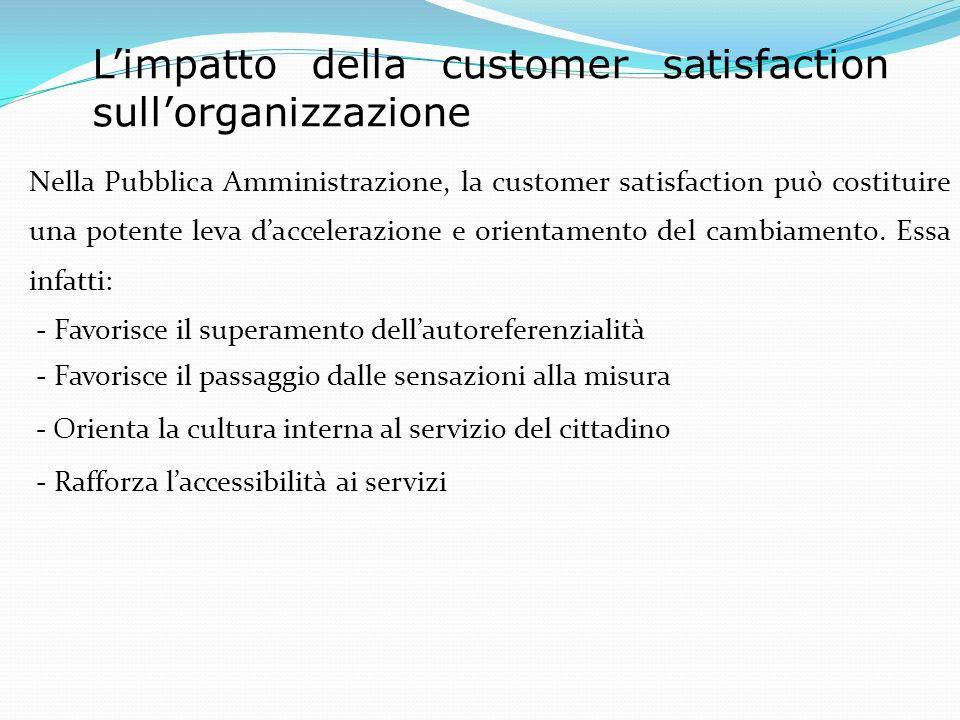 Limpatto della customer satisfaction sullorganizzazione Nella Pubblica Amministrazione, la customer satisfaction può costituire una potente leva daccelerazione e orientamento del cambiamento.