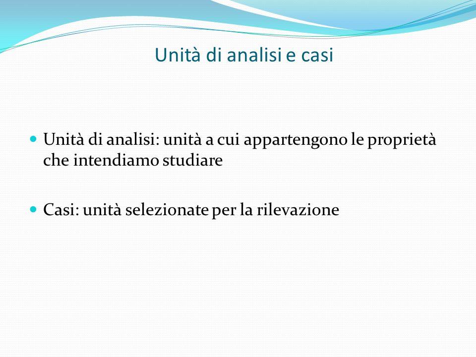 Unità di analisi e casi Unità di analisi: unità a cui appartengono le proprietà che intendiamo studiare Casi: unità selezionate per la rilevazione