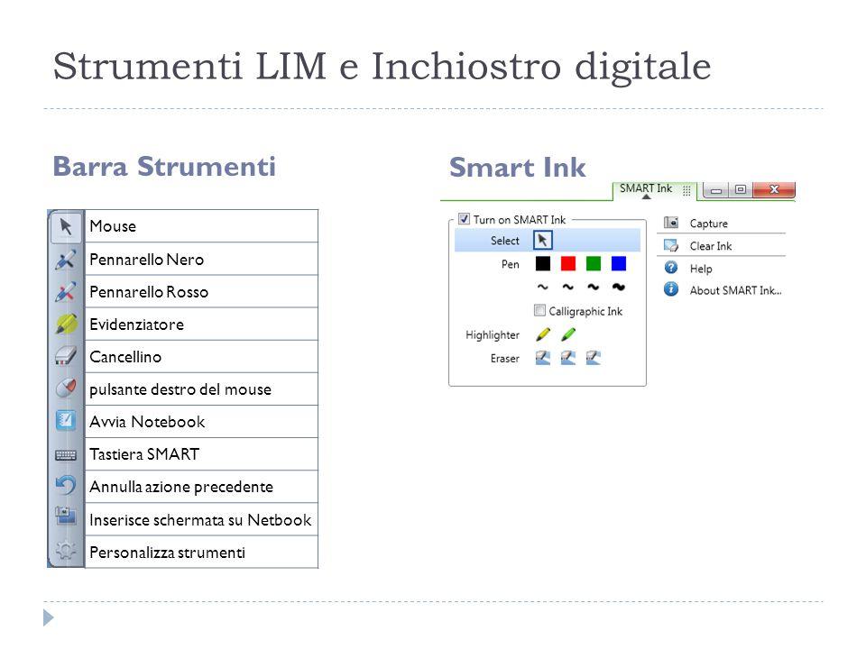 Strumenti LIM e Inchiostro digitale Barra Strumenti Smart Ink Mouse Pennarello Nero Pennarello Rosso Evidenziatore Cancellino pulsante destro del mous