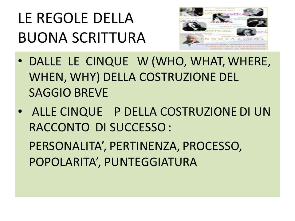 LE REGOLE DELLA BUONA SCRITTURA DALLE LE CINQUE W (WHO, WHAT, WHERE, WHEN, WHY) DELLA COSTRUZIONE DEL SAGGIO BREVE ALLE CINQUE P DELLA COSTRUZIONE DI UN RACCONTO DI SUCCESSO : PERSONALITA, PERTINENZA, PROCESSO, POPOLARITA, PUNTEGGIATURA