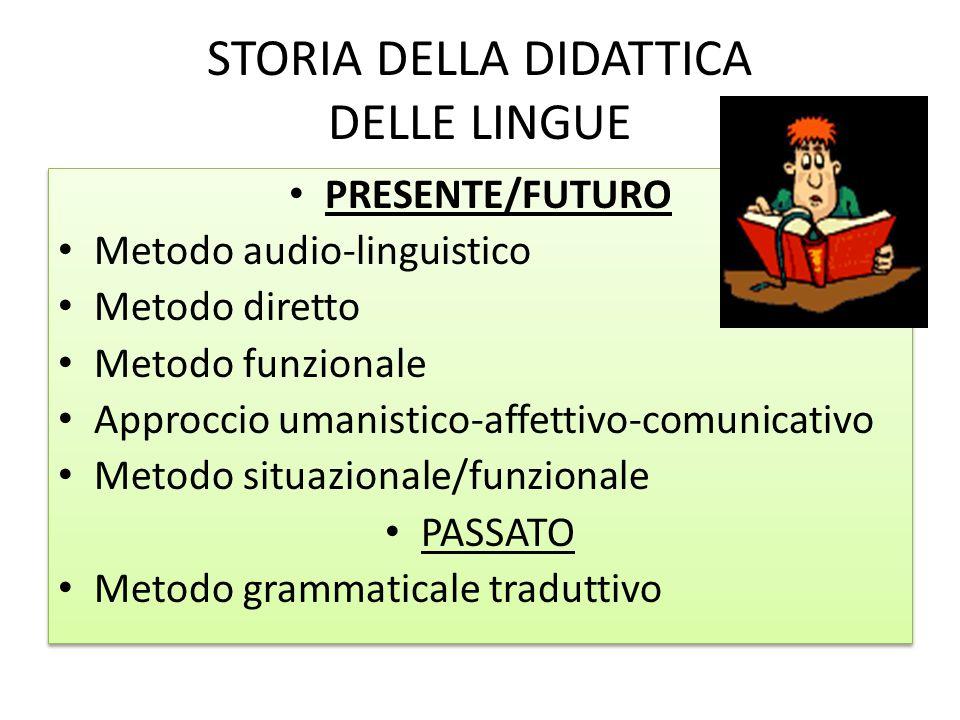 STORIA DELLA DIDATTICA DELLE LINGUE PRESENTE/FUTURO Metodo audio-linguistico Metodo diretto Metodo funzionale Approccio umanistico-affettivo-comunicat