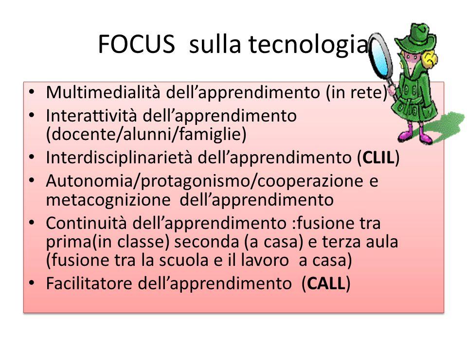 FOCUS sulla tecnologia Multimedialità dellapprendimento (in rete) Interattività dellapprendimento (docente/alunni/famiglie) Interdisciplinarietà della