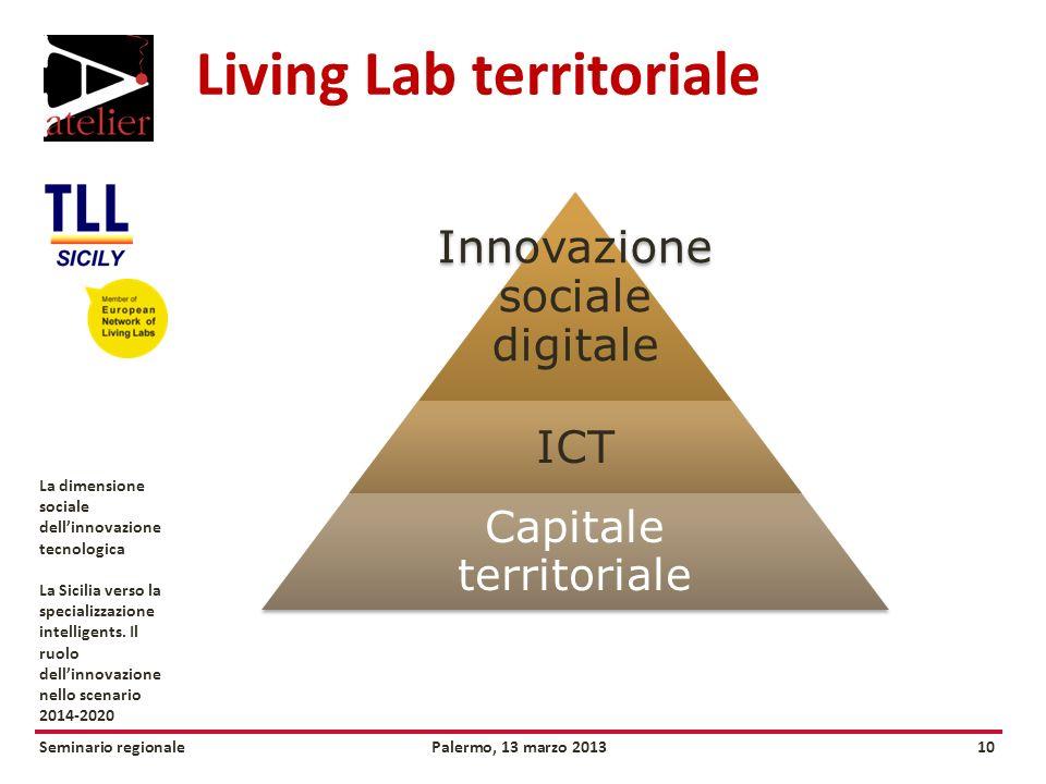 Seminario regionalePalermo, 13 marzo 201310 La dimensione sociale dellinnovazione tecnologica La Sicilia verso la specializzazione intelligents.