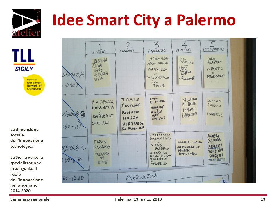Seminario regionalePalermo, 13 marzo 201313 La dimensione sociale dellinnovazione tecnologica La Sicilia verso la specializzazione intelligents.