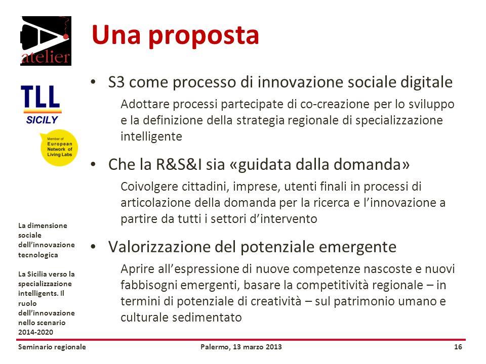 Seminario regionalePalermo, 13 marzo 201316 La dimensione sociale dellinnovazione tecnologica La Sicilia verso la specializzazione intelligents.