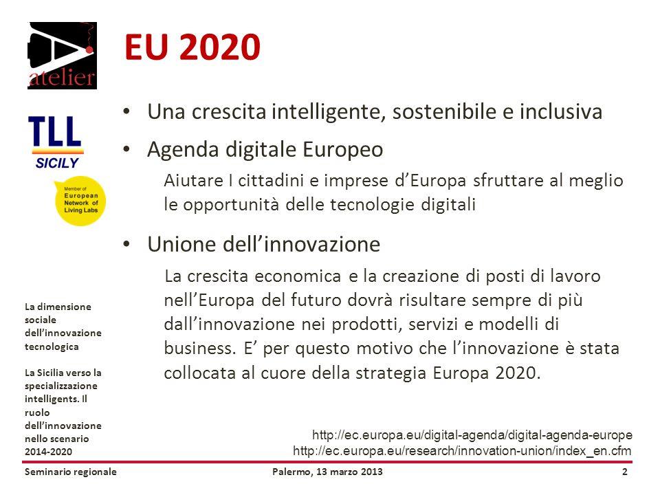 Seminario regionalePalermo, 13 marzo 20132 La dimensione sociale dellinnovazione tecnologica La Sicilia verso la specializzazione intelligents.