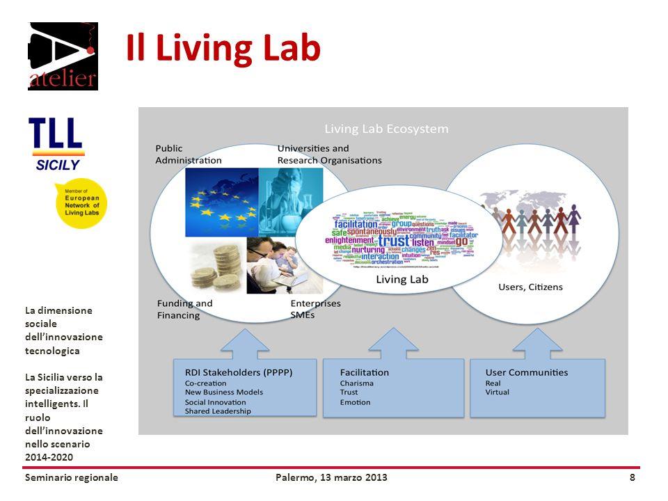 Seminario regionalePalermo, 13 marzo 20138 La dimensione sociale dellinnovazione tecnologica La Sicilia verso la specializzazione intelligents.