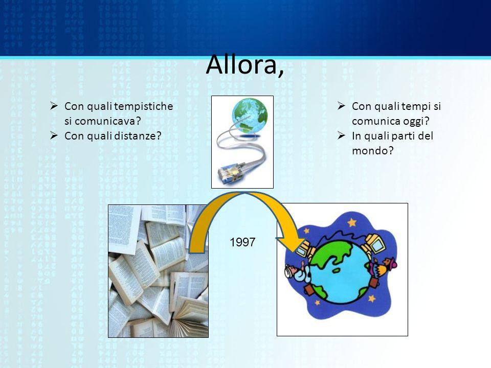 Allora, 1997 Con quali tempistiche si comunicava? Con quali distanze? Con quali tempi si comunica oggi? In quali parti del mondo?