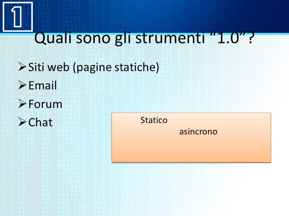 Quali sono gli strumenti 1.0? Siti web (pagine statiche) Email Forum Chat Staticosociale asincrono dinamicopersonalizzabile sincrono Staticosociale as