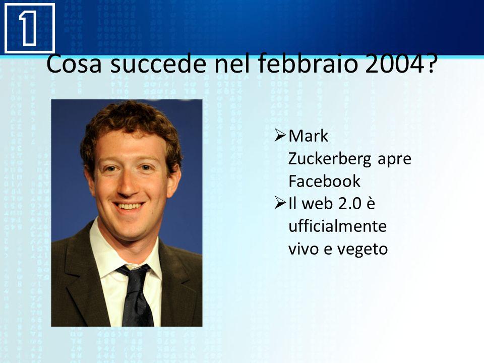 Cosa succede nel febbraio 2004? Mark Zuckerberg apre Facebook Il web 2.0 è ufficialmente vivo e vegeto