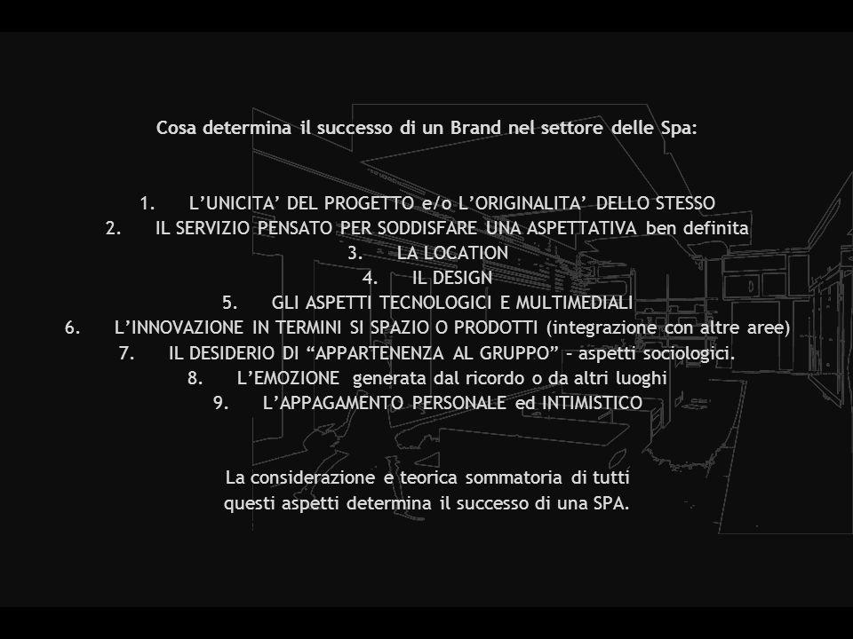 Cosa determina il successo di un Brand nel settore delle Spa: 1.LUNICITA DEL PROGETTO e/o LORIGINALITA DELLO STESSO 2.IL SERVIZIO PENSATO PER SODDISFARE UNA ASPETTATIVA ben definita 3.LA LOCATION 4.IL DESIGN 5.GLI ASPETTI TECNOLOGICI E MULTIMEDIALI 6.LINNOVAZIONE IN TERMINI SI SPAZIO O PRODOTTI (integrazione con altre aree) 7.IL DESIDERIO DI APPARTENENZA AL GRUPPO – aspetti sociologici.