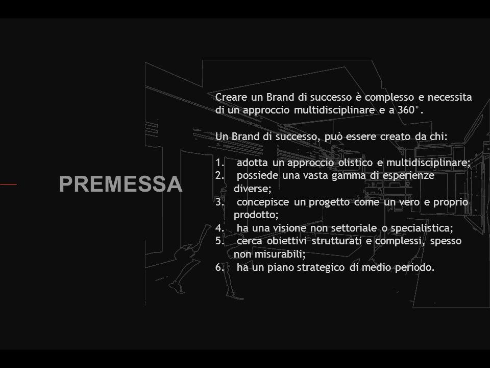 PREMESSA Creare un Brand di successo è complesso e necessita di un approccio multidisciplinare e a 360°.