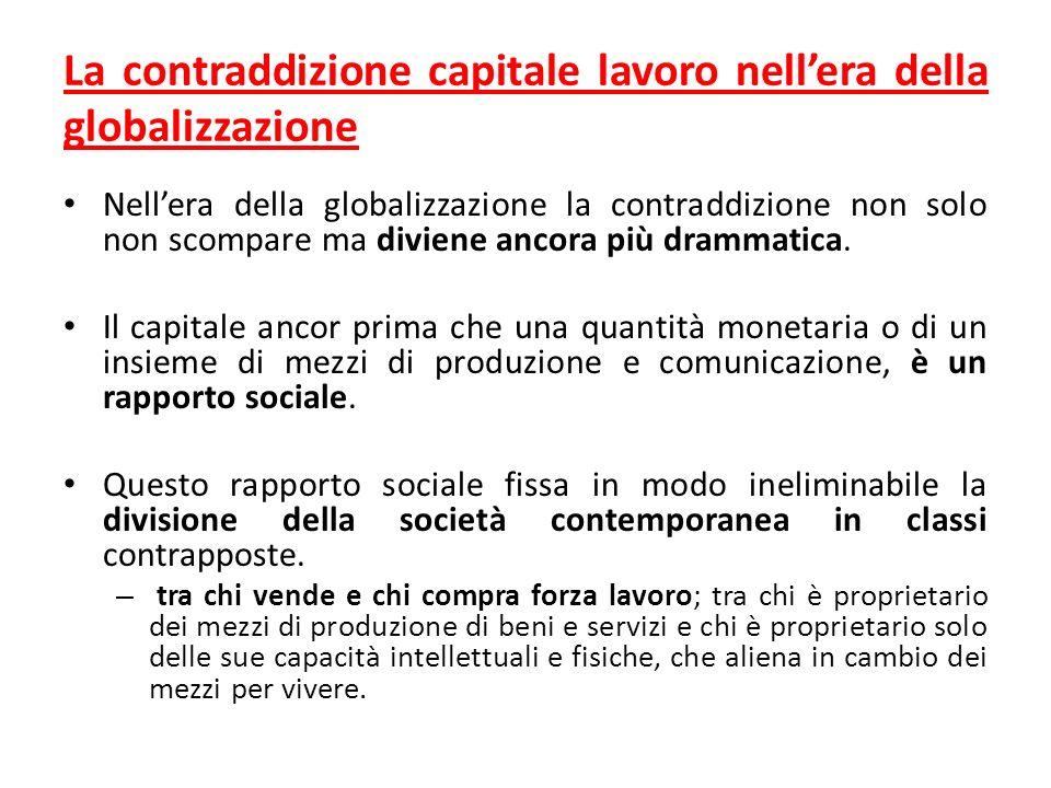 La contraddizione capitale lavoro nellera della globalizzazione Nellera della globalizzazione la contraddizione non solo non scompare ma diviene ancora più drammatica.