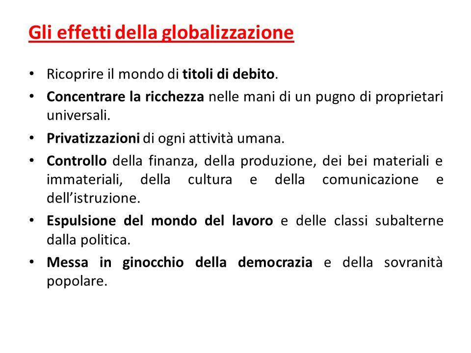 Gli effetti della globalizzazione Ricoprire il mondo di titoli di debito.