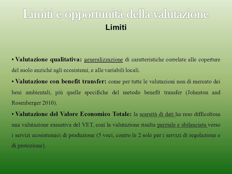 Limiti Valutazione qualitativa: generalizzazione di caratteristiche correlate alle coperture del suolo anziché agli ecosistemi, e alle variabili locali.