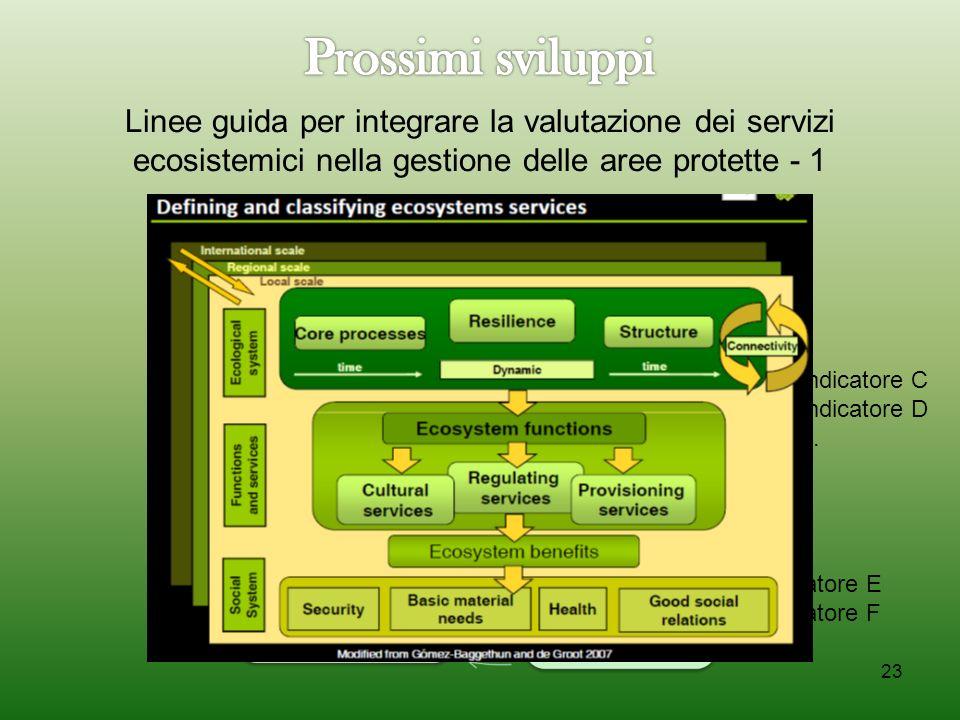 23 Indicatore A Indicatore B... Indicatore C Indicatore D... Indicatore E Indicatore F... Linee guida per integrare la valutazione dei servizi ecosist
