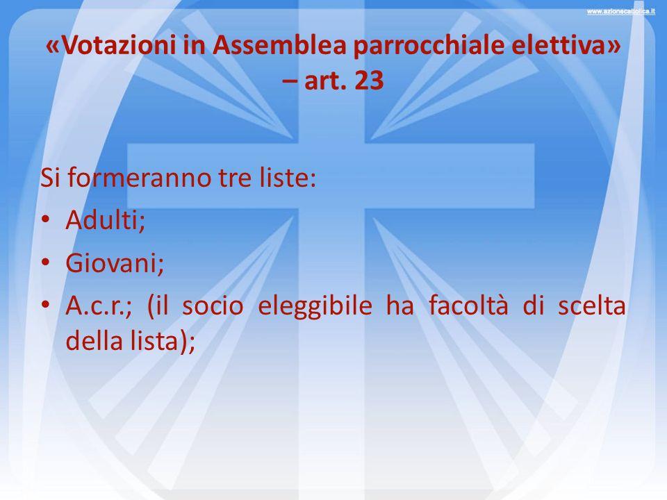 «Votazioni in Assemblea parrocchiale elettiva» – art. 23 Si formeranno tre liste: Adulti; Giovani; A.c.r.; (il socio eleggibile ha facoltà di scelta d