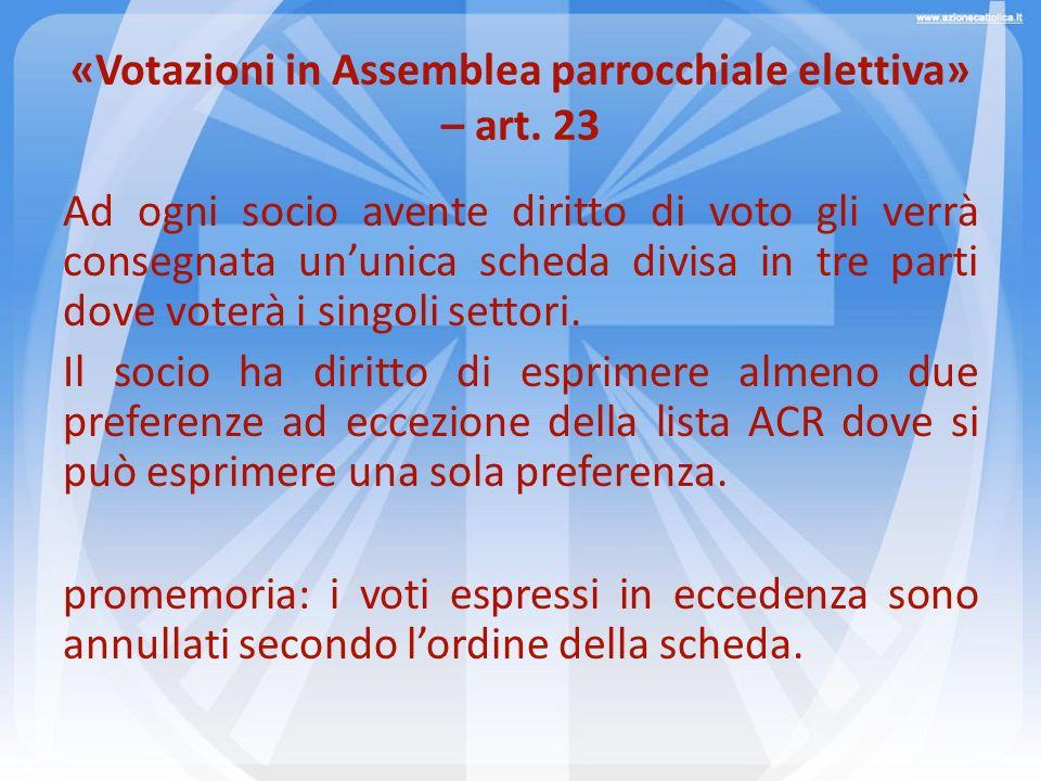 «Votazioni in Assemblea parrocchiale elettiva» – art. 23 Ad ogni socio avente diritto di voto gli verrà consegnata ununica scheda divisa in tre parti