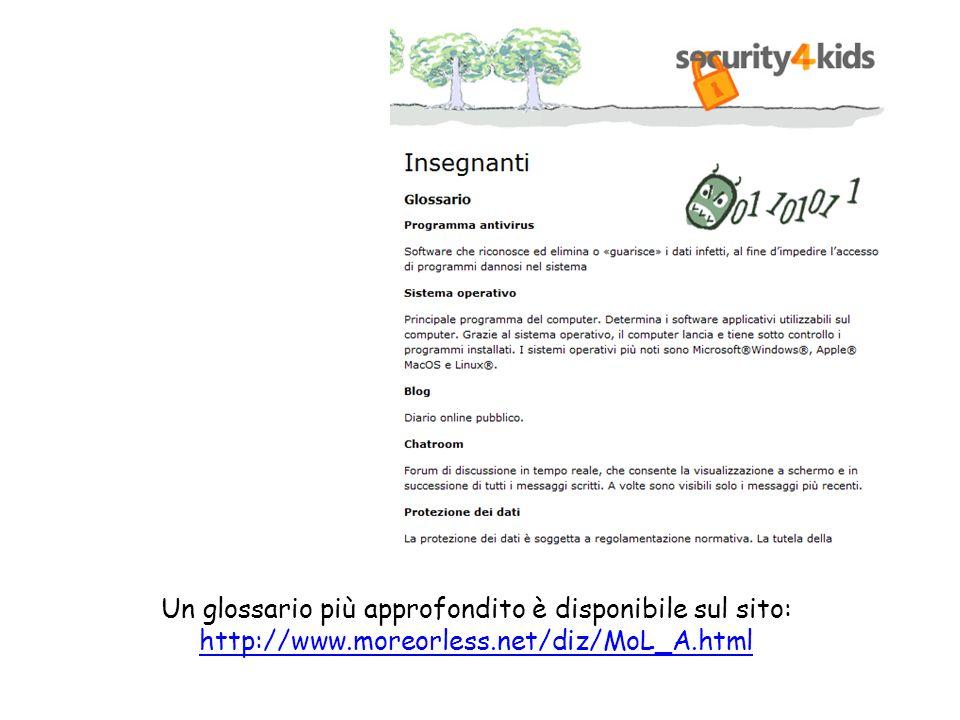 Un glossario più approfondito è disponibile sul sito: http://www.moreorless.net/diz/MoL_A.html http://www.moreorless.net/diz/MoL_A.html