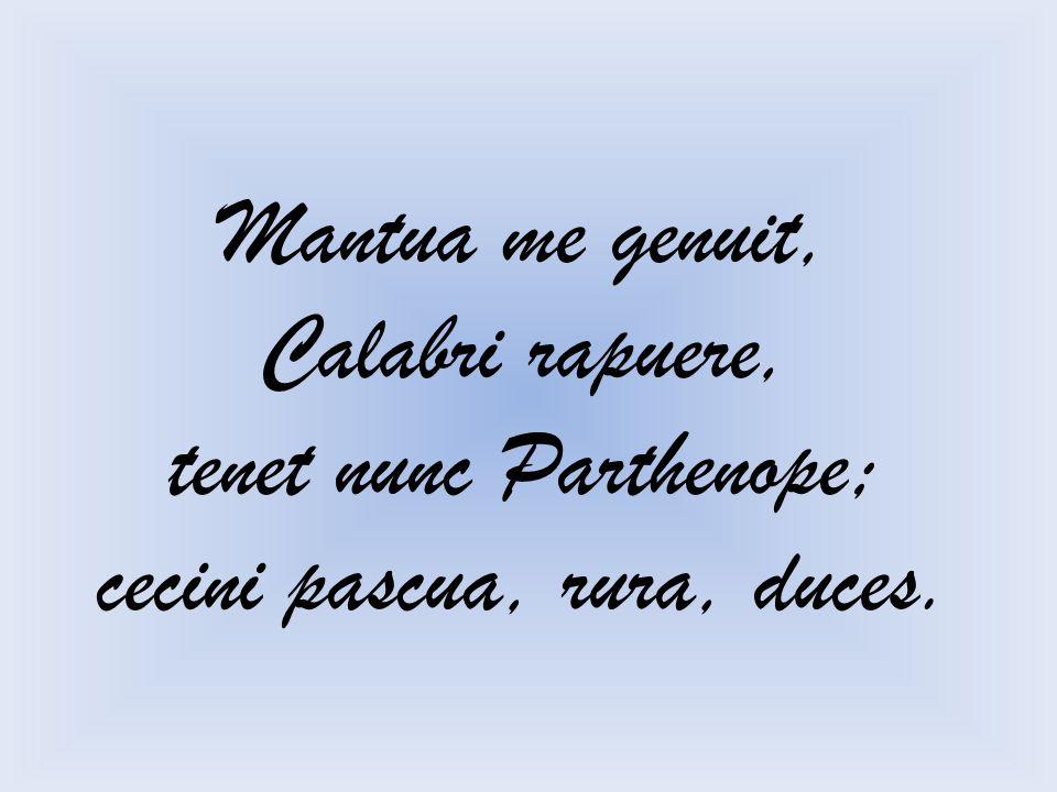 Mantua me genuit, Calabri rapuere, tenet nunc Parthenope; cecini pascua, rura, duces.