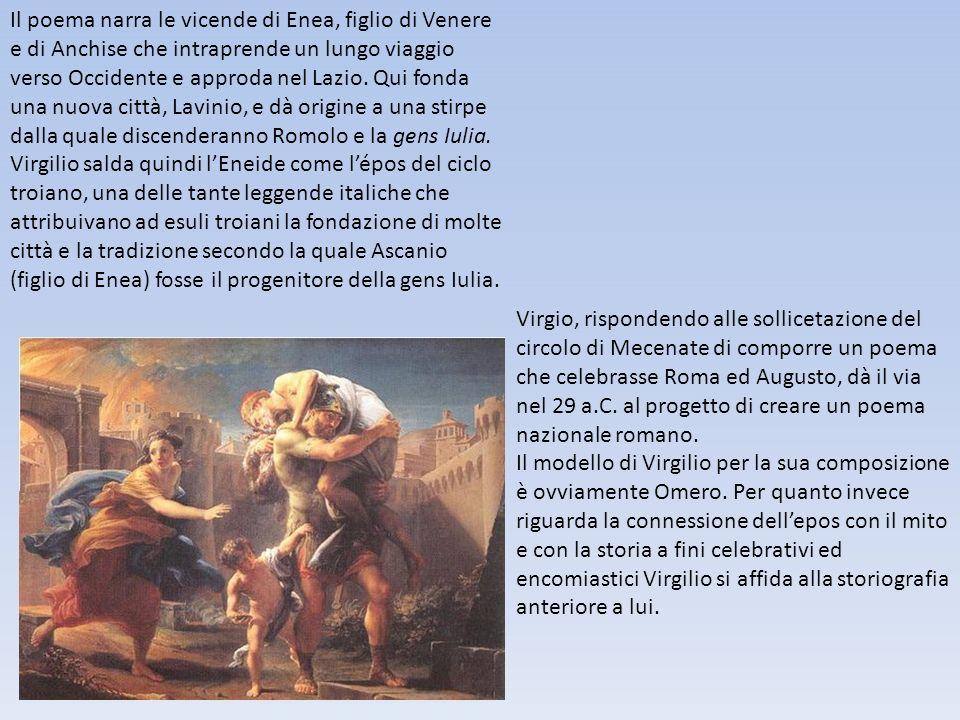 Il poema narra le vicende di Enea, figlio di Venere e di Anchise che intraprende un lungo viaggio verso Occidente e approda nel Lazio. Qui fonda una n