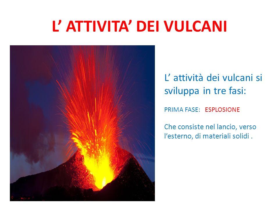 L ATTIVITA DEI VULCANI L attività dei vulcani si sviluppa in tre fasi: PRIMA FASE: ESPLOSIONE Che consiste nel lancio, verso lesterno, di materiali solidi.