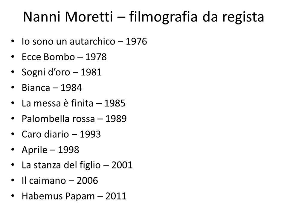 Nanni Moretti – filmografia da regista Io sono un autarchico – 1976 Ecce Bombo – 1978 Sogni doro – 1981 Bianca – 1984 La messa è finita – 1985 Palombe