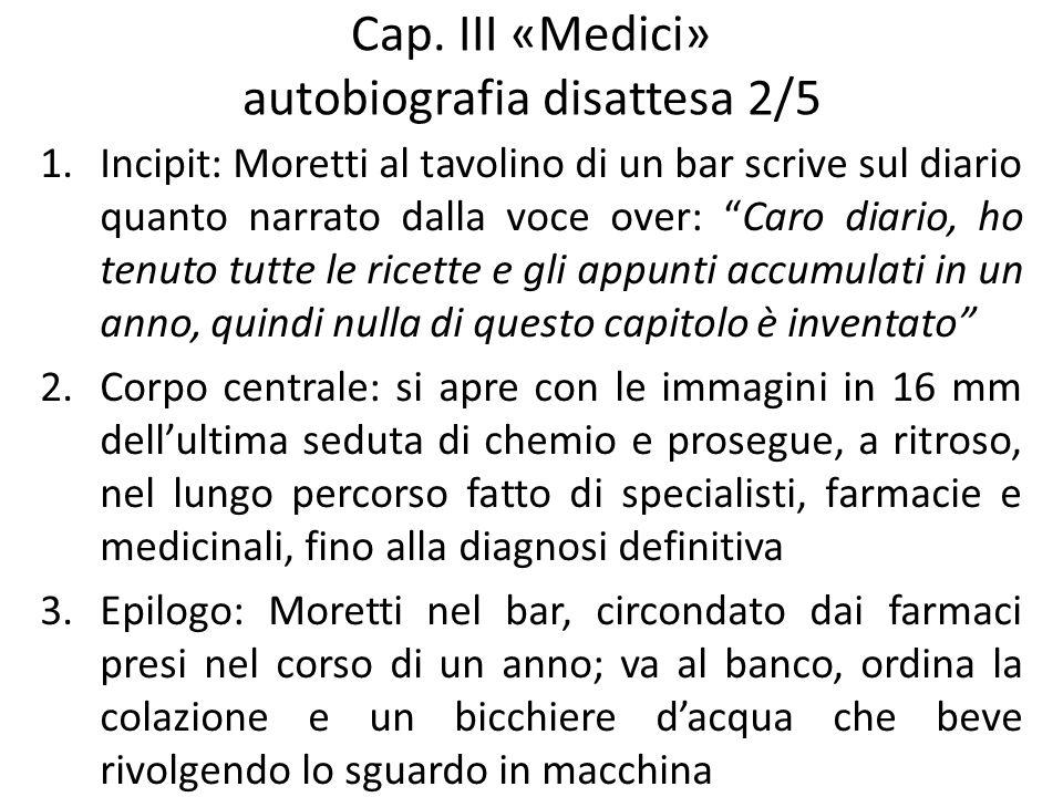 Cap. III «Medici» autobiografia disattesa 2/5 1.Incipit: Moretti al tavolino di un bar scrive sul diario quanto narrato dalla voce over: Caro diario,