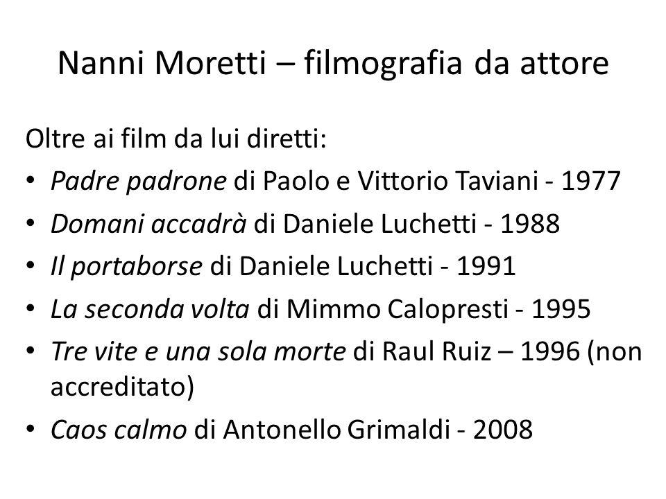 Nanni Moretti – filmografia da attore Oltre ai film da lui diretti: Padre padrone di Paolo e Vittorio Taviani - 1977 Domani accadrà di Daniele Luchett