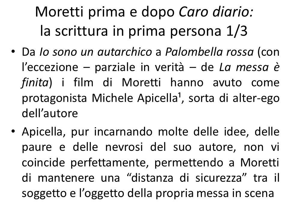Moretti prima e dopo Caro diario: la scrittura in prima persona 1/3 Da Io sono un autarchico a Palombella rossa (con leccezione – parziale in verità –