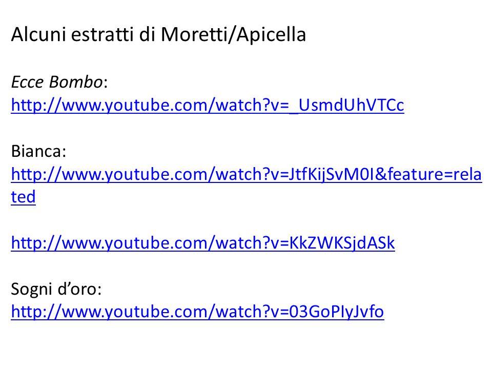 Alcuni estratti di Moretti/Apicella Ecce Bombo: http://www.youtube.com/watch?v=_UsmdUhVTCc http://www.youtube.com/watch?v=_UsmdUhVTCc Bianca: http://w