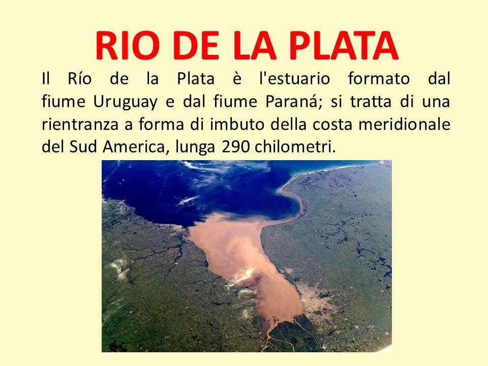 RIO DE LA PLATA Il Río de la Plata è l'estuario formato dal fiume Uruguay e dal fiume Paraná; si tratta di una rientranza a forma di imbuto della cost