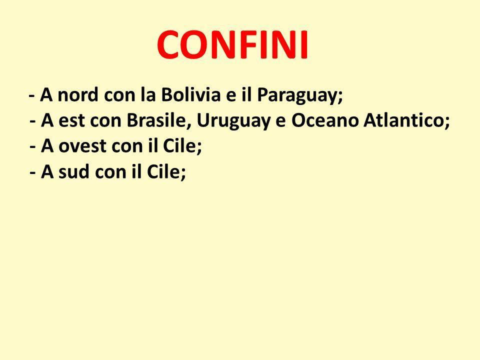 CONFINI - A nord con la Bolivia e il Paraguay; - A est con Brasile, Uruguay e Oceano Atlantico; - A ovest con il Cile; - A sud con il Cile;