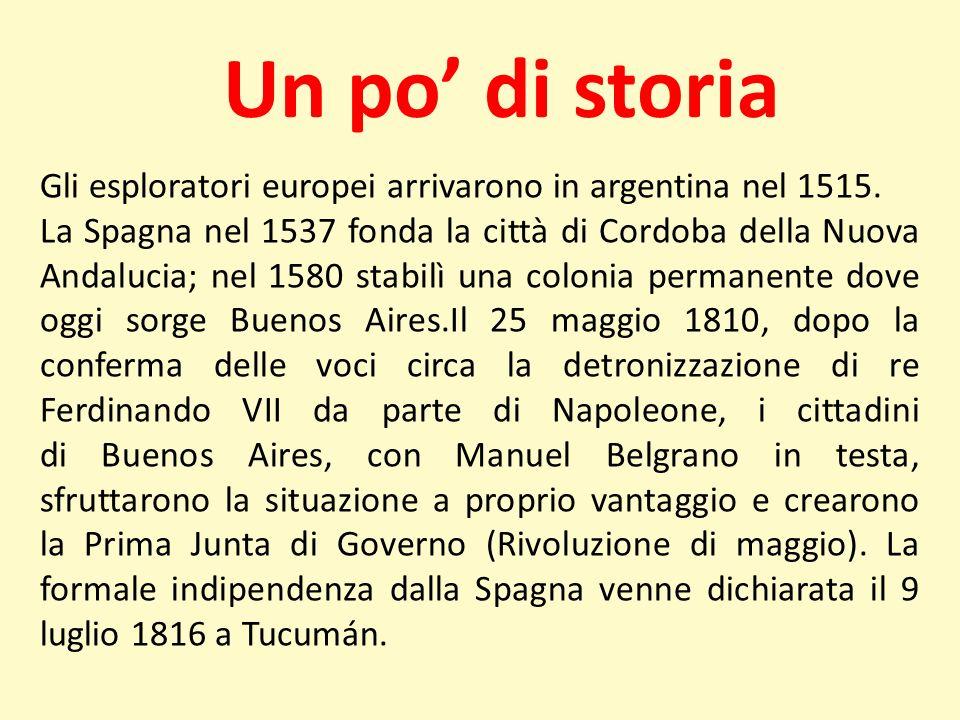 Un po di storia Gli esploratori europei arrivarono in argentina nel 1515. La Spagna nel 1537 fonda la città di Cordoba della Nuova Andalucia; nel 1580