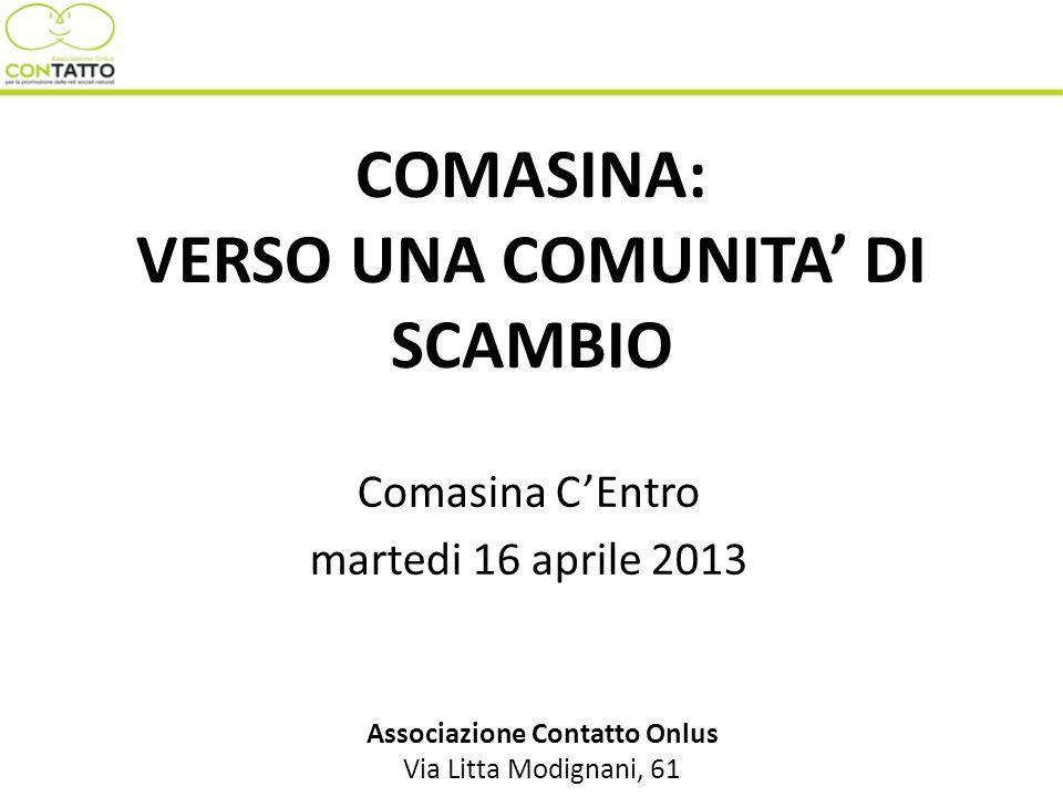 COMASINA: VERSO UNA COMUNITA DI SCAMBIO Comasina CEntro martedi 16 aprile 2013 Associazione Contatto Onlus Via Litta Modignani, 61
