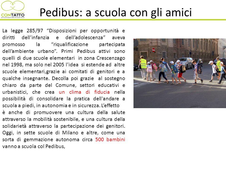 Pedibus: a scuola con gli amici La legge 285/97 Disposizioni per opportunità e diritti dellinfanzia e delladolescenza aveva promosso la riqualificazio