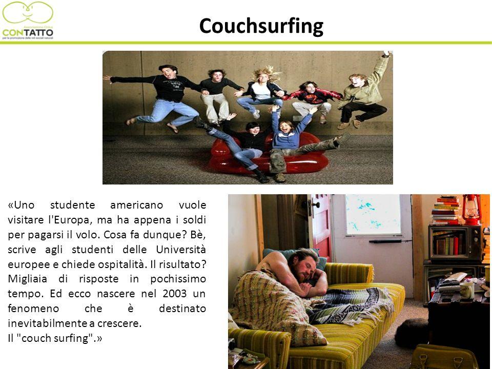 Couchsurfing «Uno studente americano vuole visitare l'Europa, ma ha appena i soldi per pagarsi il volo. Cosa fa dunque? Bè, scrive agli studenti delle